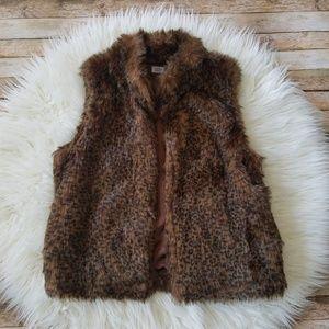 Charming Charlie Faux Fur Animal Print Vest